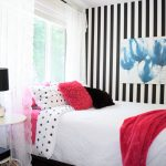 Hot pink black and white striped teen girl room 4 (2)