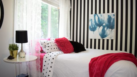 Hot pink black and white striped teen girl room 4