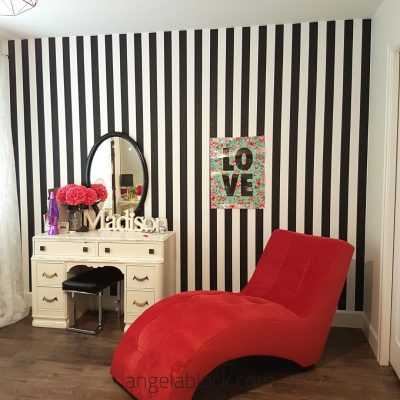Hot pink black and white striped teen girl room